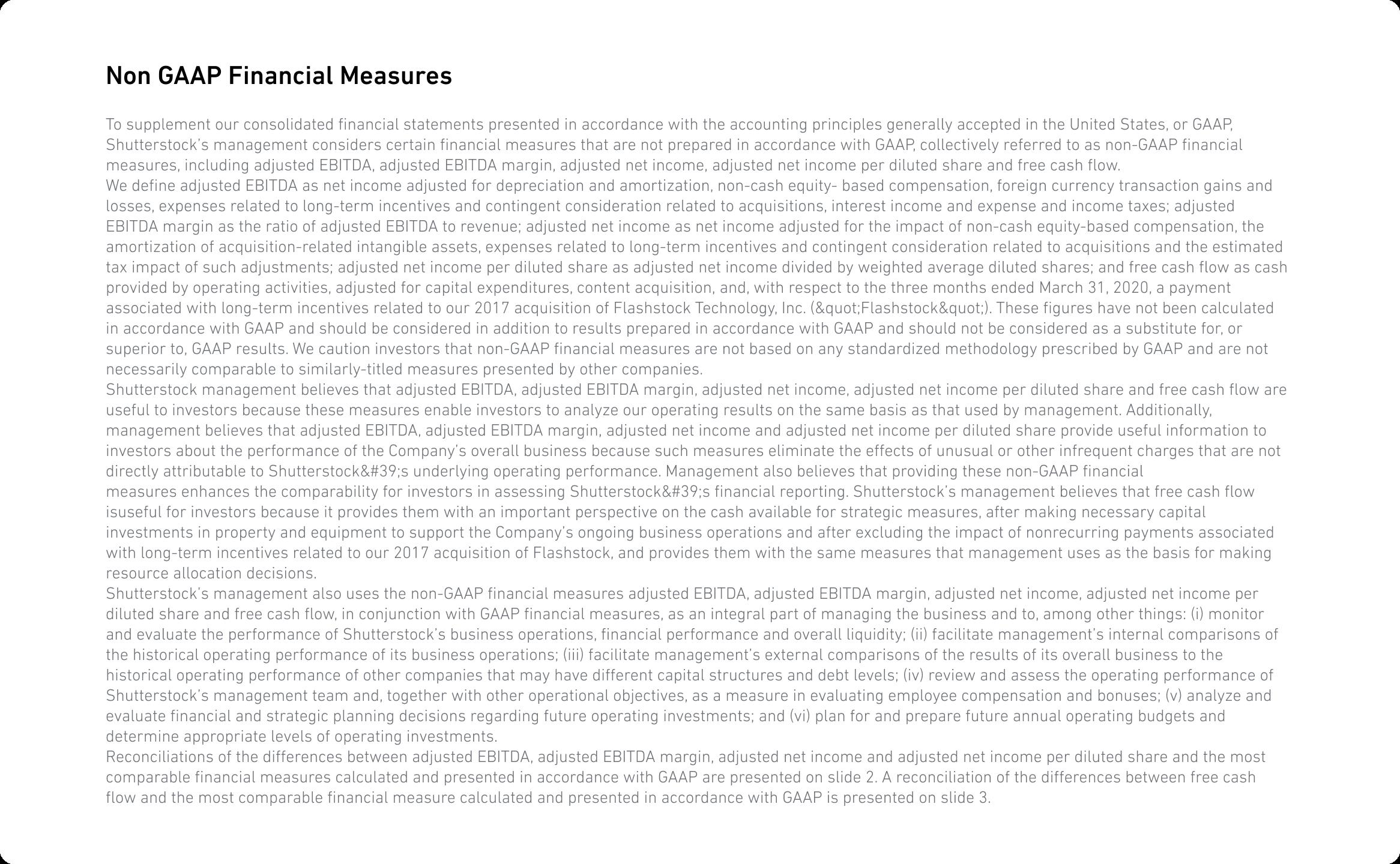 Non GAAP Financial Measures